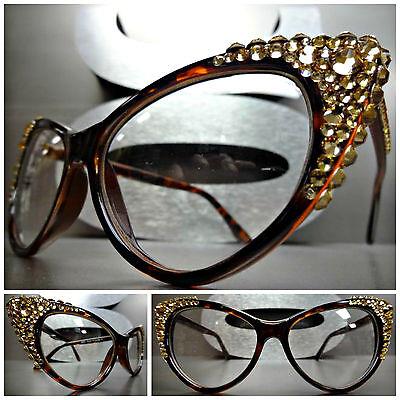 VINTAGE RETRO 60/'s CAT EYE Style Clear Lens EYE GLASSES Pink Crystals Handmade