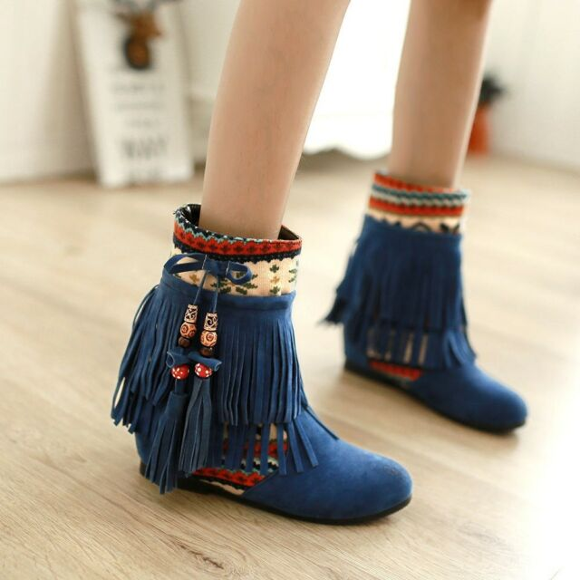 Womens Sweet Beads Tassel Bohemia Hidden Wedge Heels Moccasin Ankle Boots Shoes