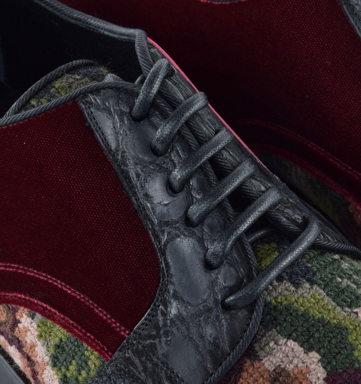 DOLCE & Baroque GABBANA RUNWAY Barock Stickerei Samt Schuhe Rot Baroque & Schuhes ROT 03898 e65435