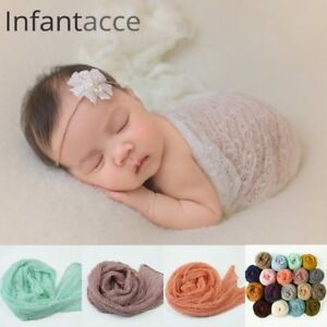 Newborn photography props mohair acrylic stretchy knit wrap  blanket