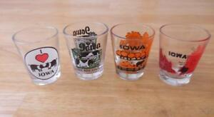 IOWA-State-Lot-of-4-Shot-Glasses-Cattle-Pigs-Farm-State-Capitol
