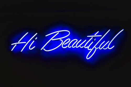 "Hi Beautiful Neon Sign Light Home Room Wall Poster Real Glass Tube Decor10/""x7/"""
