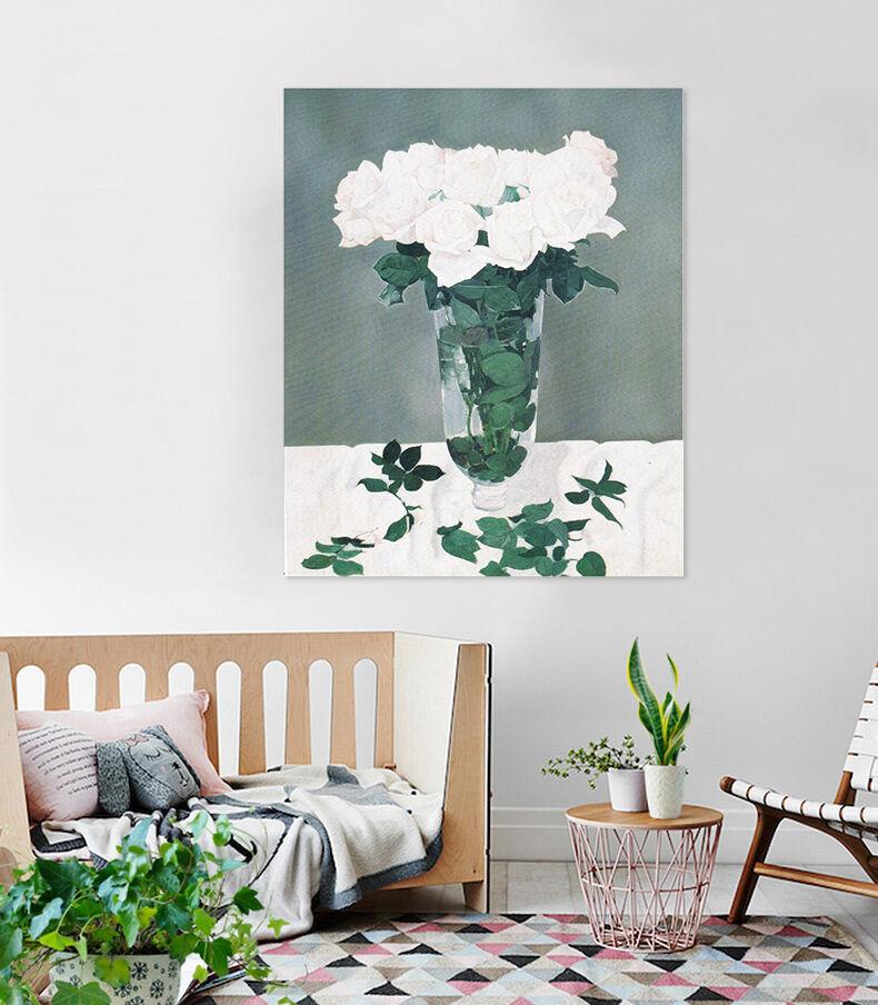 3D Weiße Blüten, Blätter 457 Wandbild Fototapete Bild Tapete Familie AJSTORE DE