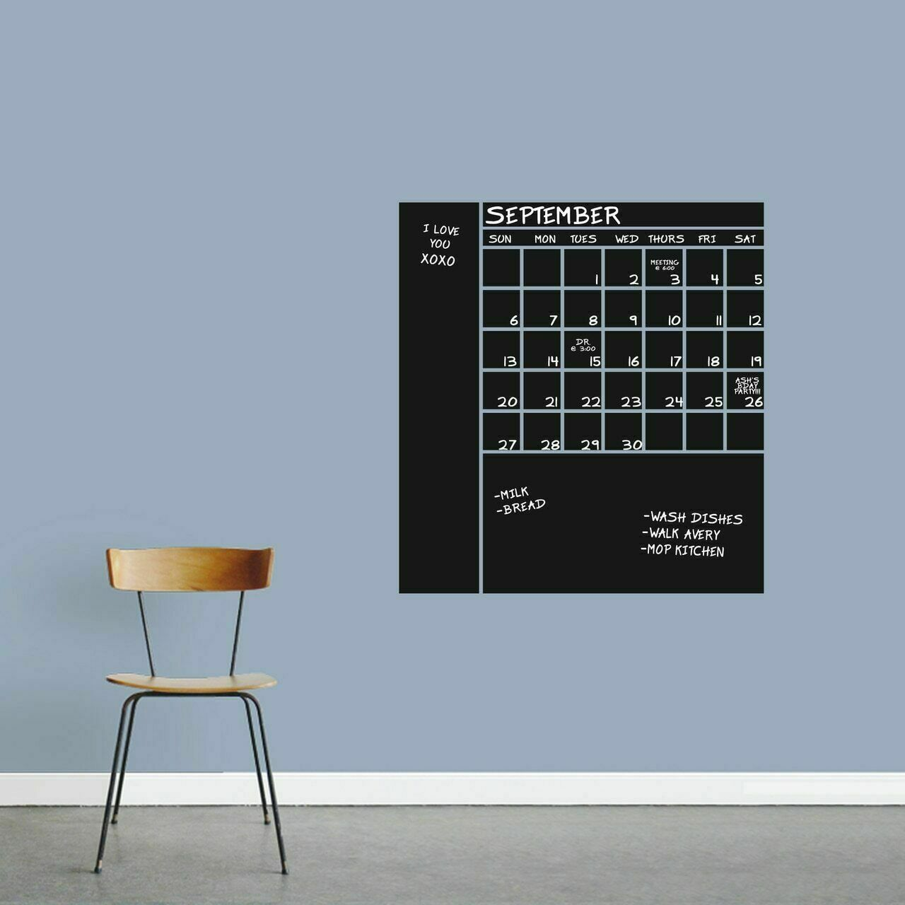 Chalkboard Calendar With Notes Wall Decal - Organizer List Making Kitchen Office