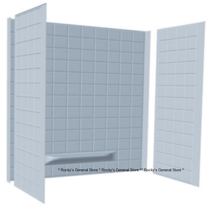 Tub Surround 3 Piece Tiled Bath Tub Shower Wall Enclosure White ...