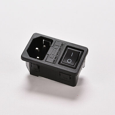 AC 250V 10A 3-pin Rocker Switch IEC320 C14 Power Inlet Socket With Fuse