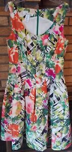 aae440d3cb57e OSCAR DE LA RENTA Tartan Floral Print Silk Taffeta Pleat Dress Size ...