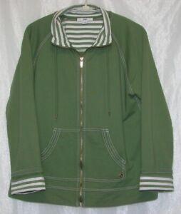 AK-Ann-Klein-Green-Zip-Up-Activewear-Sweatshirt-Jacket-Size-XL-Very-Nice