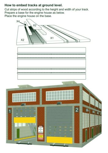 Two Stall Diesel Engine House w//Motorized Doors Indoor//Outdoor Lighting O Gauge