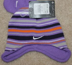6e3024a6089 New! Girls Nike Gloves Hat Lot Set (Purple Stripes  Mittens) - Size ...