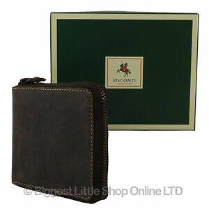 NEW-Mens-QUALITY-Leather-Zip-Around-Wallet-by-VISCONTI-Oiled-Brown-Gift-Boxed