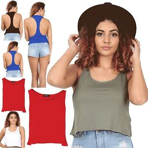 062f7fab6af Womens Ladies Plain Racer Muscle Back Deep Side Cut Out Crop Tank ...