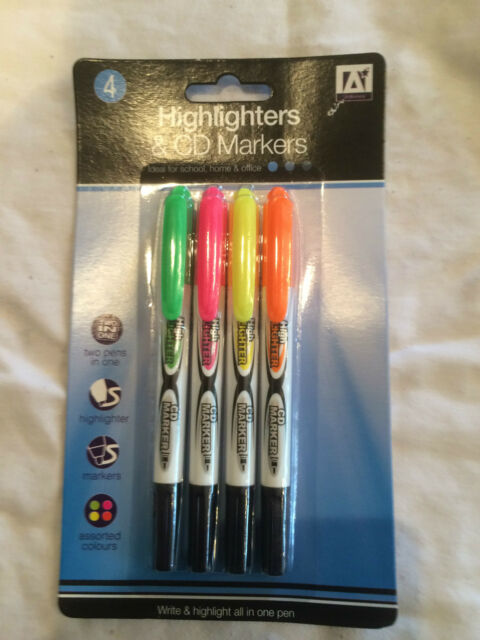 DOUBLE TIP CD DVD Permanent Marker Pens Fine Pack of 4 Black, Green, Red & Blue