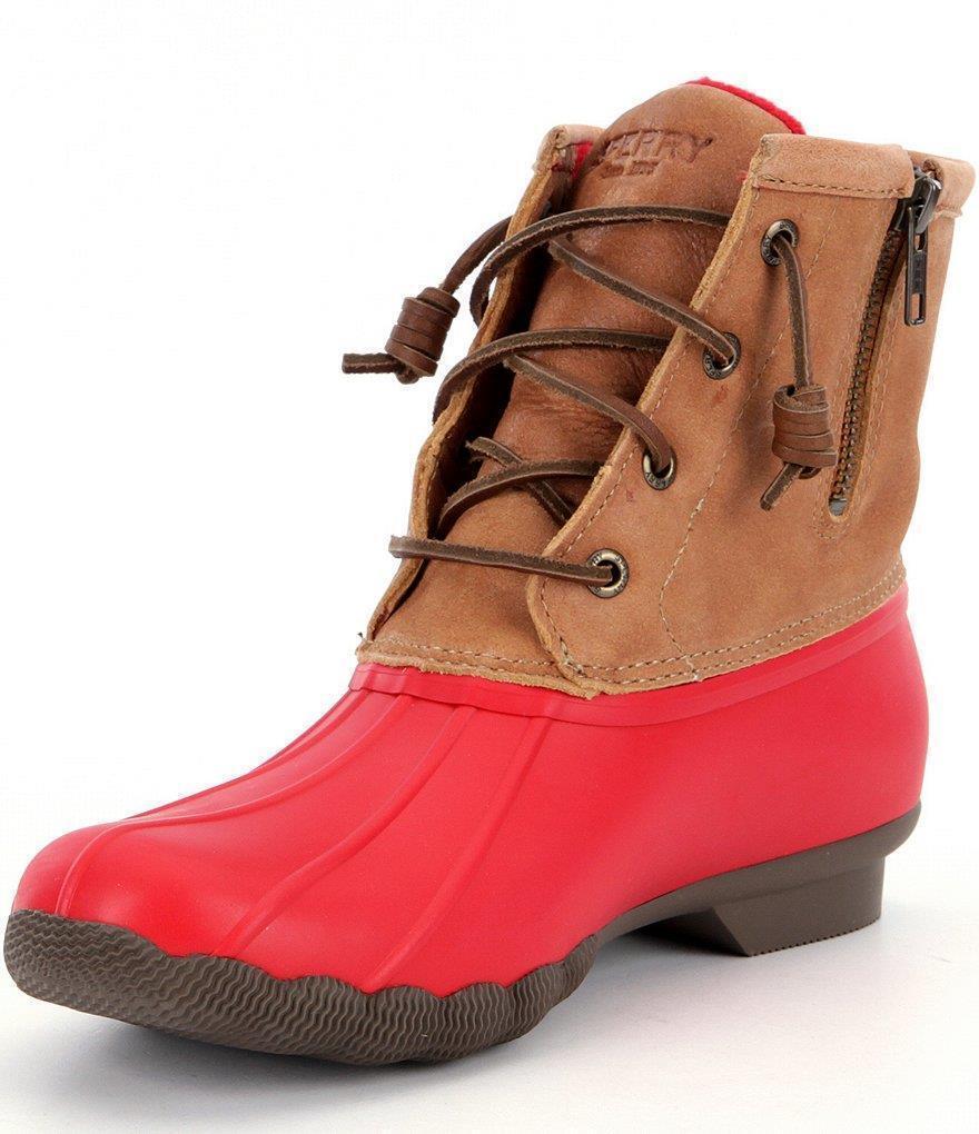 NIB NWB Sperry Top-Sider Saltwater ROT/Tan Waterproof Duck Boot Damenschuhe Sz 7-10