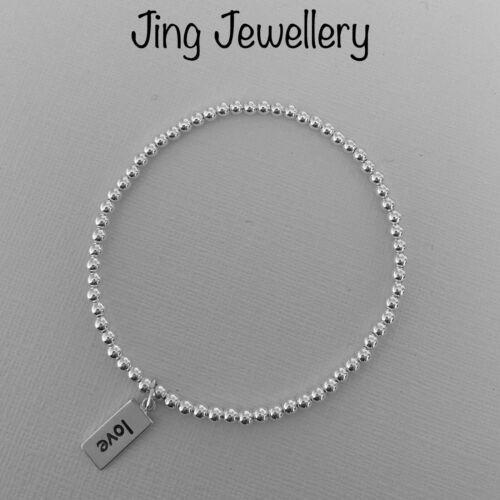 STERLING SILVER BEADED STRETCH STACKING BRACELET 925 LOVE TAG CHARM GIFT