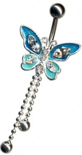 Mariposa ombligo plata ombligo piercing cristal circonita