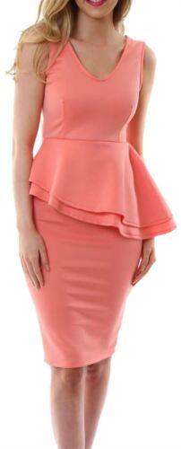 Nueva camiseta para mujer sesgo lateral doble Peplum Volante Lápiz Bodycon Midi Vestido con Falda 8-26