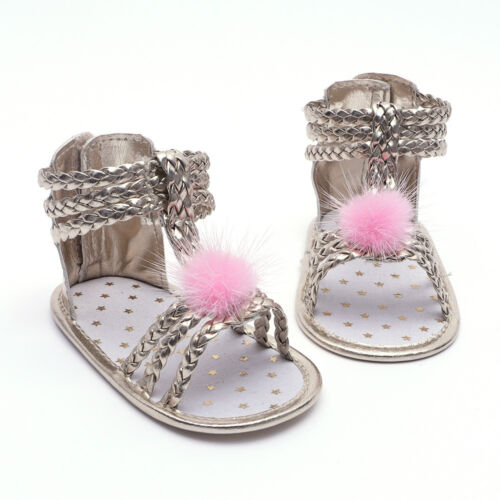 NEW Baby Girl Gold Braided Gladiator Sandals Crib Shoes 1 2