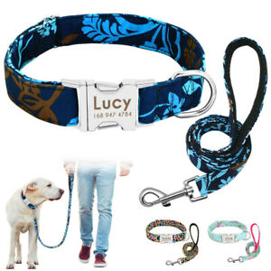 Personalised-Boho-Floral-ID-Dog-Collars-and-Leads-Laser-Engraved-Metal-Buckle