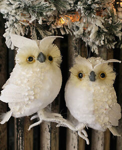 Set Of 2 Snowy Winter White Owl Christmas Table Top