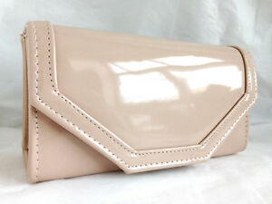 961e530e5e NEW BEIGE NUDE FAUX PATENT LEATHER EVENING DAY CLUTCH BAG WEDDING ...