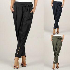 Mode-Femme-Pantalon-Taille-elastique-Ceinture-Poche-Couleur-Unie-Grande-Taille