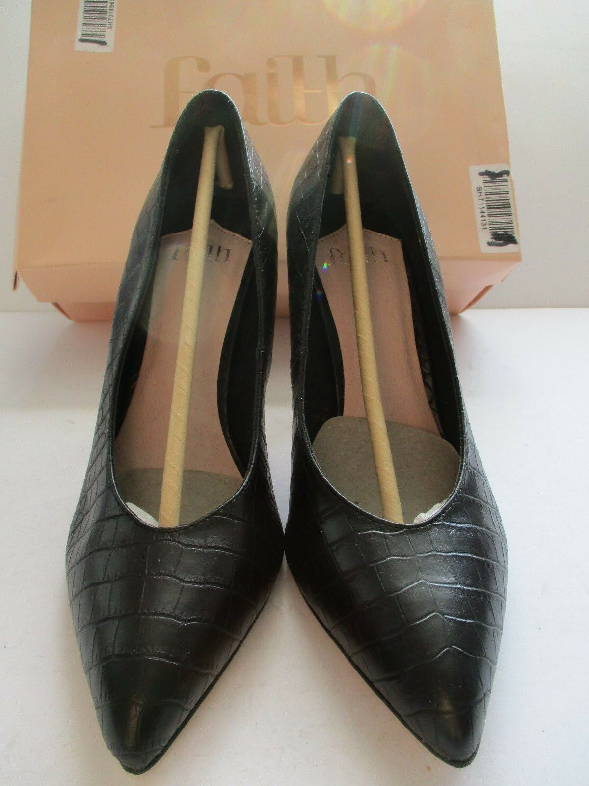 FAITH CAMBODIA LADIES BLACK POINTED PATTERNED COURT SHOE SIZE 7/40 STILETTO NEW