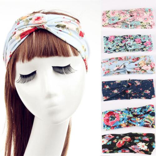 Lady Flower Elastic Twisted Turban Hair Band Knotted Headband Yoga Head,Wrap Top