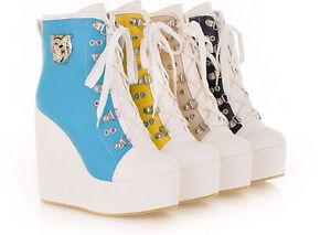 botas zapatos de mujer cordones cuña 12 cm como piel cómodo deportes negro 9133