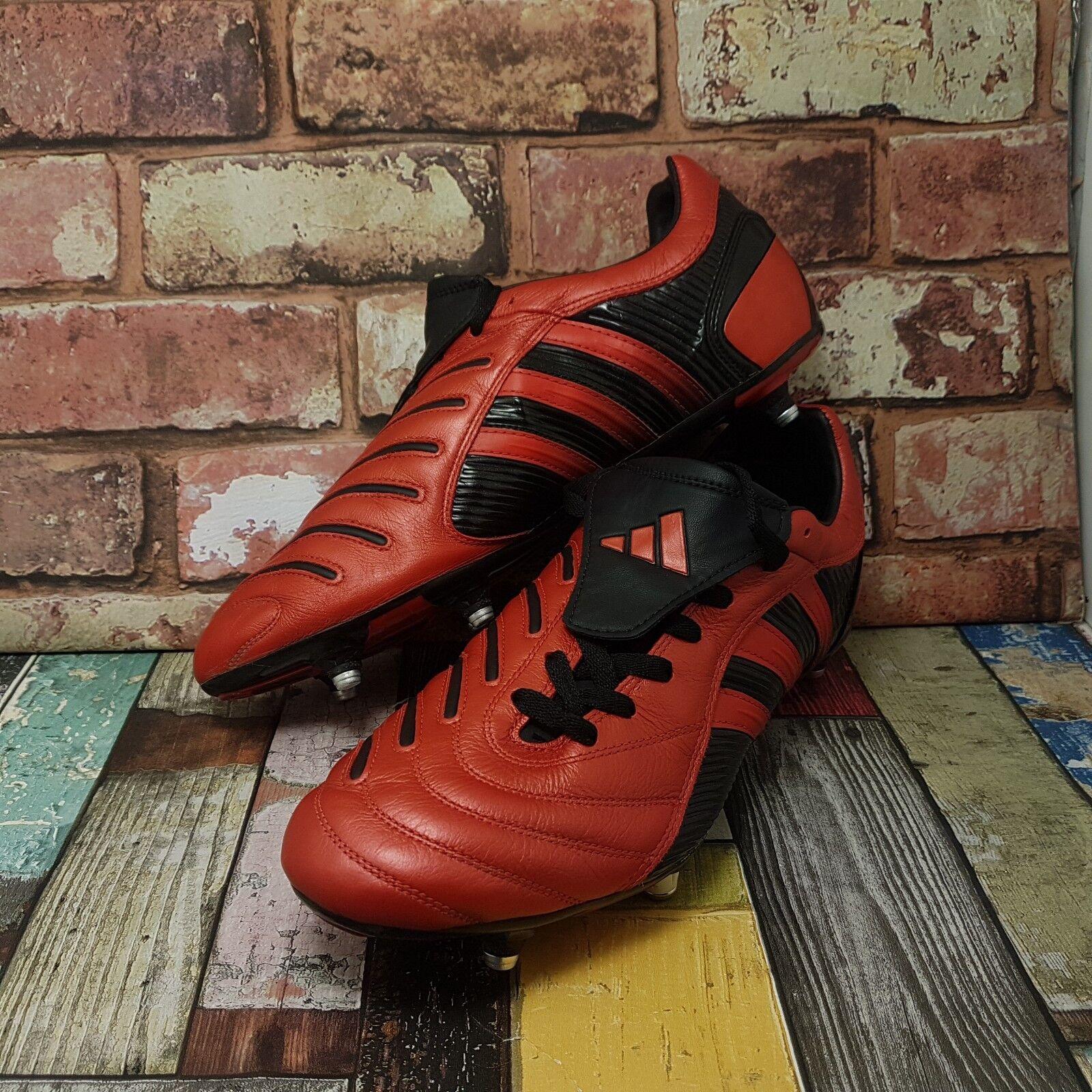Adidas ProjoATOR PULSO absoluta de fútbol botas talla 10.5 Rojo Cuero 2004 EU 45