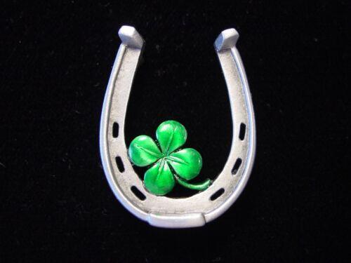 "/""JJ/"" Jonette Jewelry Silver Pewter /'4-LEAF CLOVER /& Horseshoe LUCK/' Pin w-color"