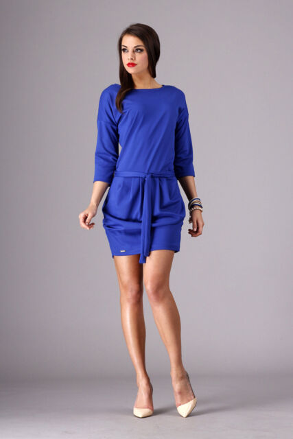 Elegant Women's Dress With Belt Boat Neck 3/4 Sleeve Tunic Sizes 8-16 FA267
