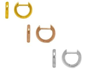 Huggie-Earrings-14K-Solid-Yellow-White-Rose-Gold-Italy-Small-Hoop-Earrings-Women