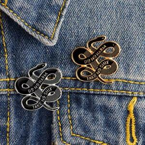 Details about Dark Enamel Pin Snake Brooch Buckle Badge Backpack bag Pins  Jewelry Gift USAT