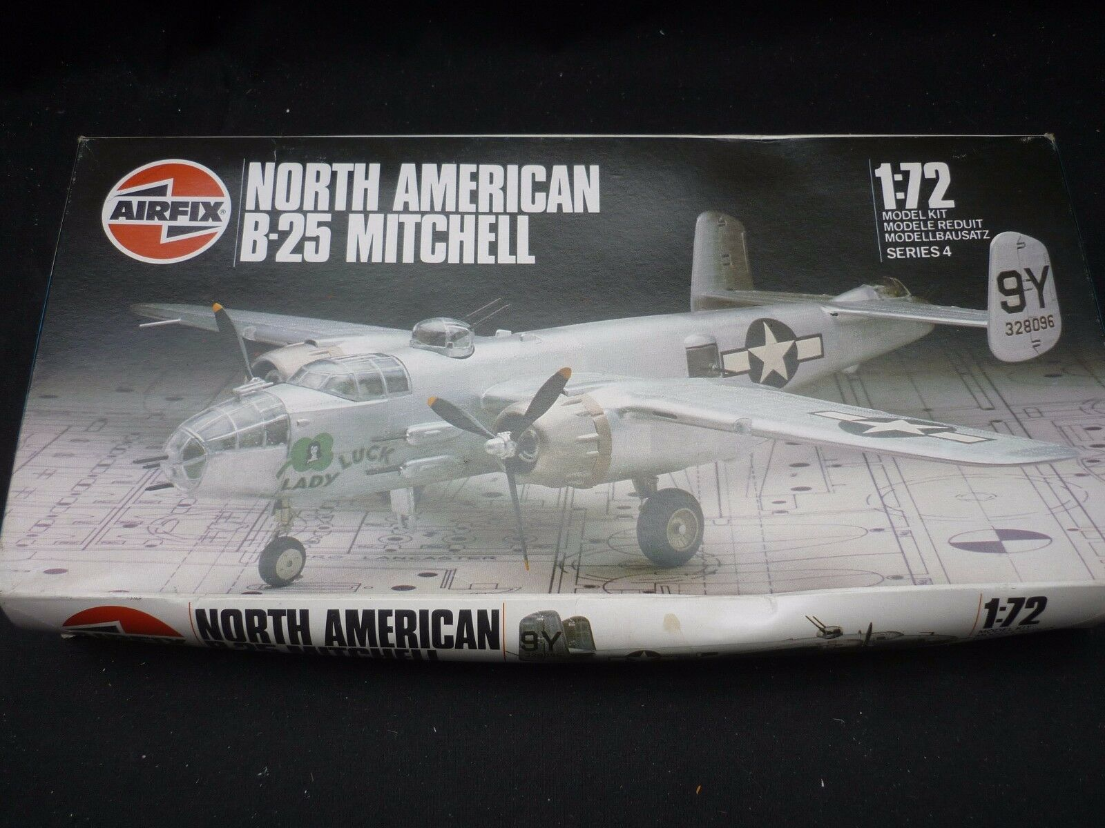Airfix predotype un made plastic kit of a North American B-25 Mitchell, Signed