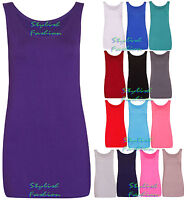 S228 Womens Ladies Scoop Neck Sleeveless Long Stretch Plain Vest Strappy T-Shirt