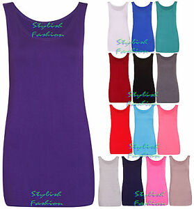Women-Scoop-Neck-Sleeveless-Ladies-Long-Stretch-RacerBack-Plain-Vest-Strappy-Top