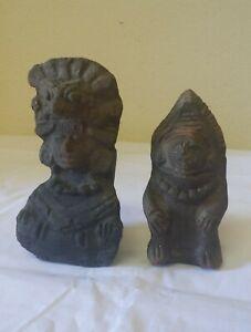 2 anciennes Statuettes en terre cuite à déterminer