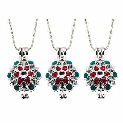 Fashion Enamel Metal Necklace Charm Christmas Snowflake Locket Cage Pendants DIY