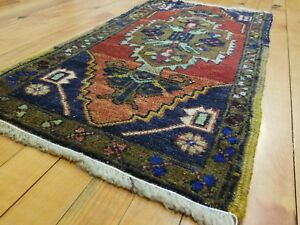 "Antiques Area Rug Factory Direct Selling Price Forceful Primitive Vintage 1950-1960's Natural Dye 1'5"" × 2'8"" Wool Pile"