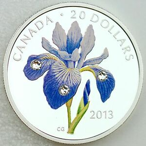 Canada 2013 20 Blue Flag Iris 1 Oz Pure Silver Color