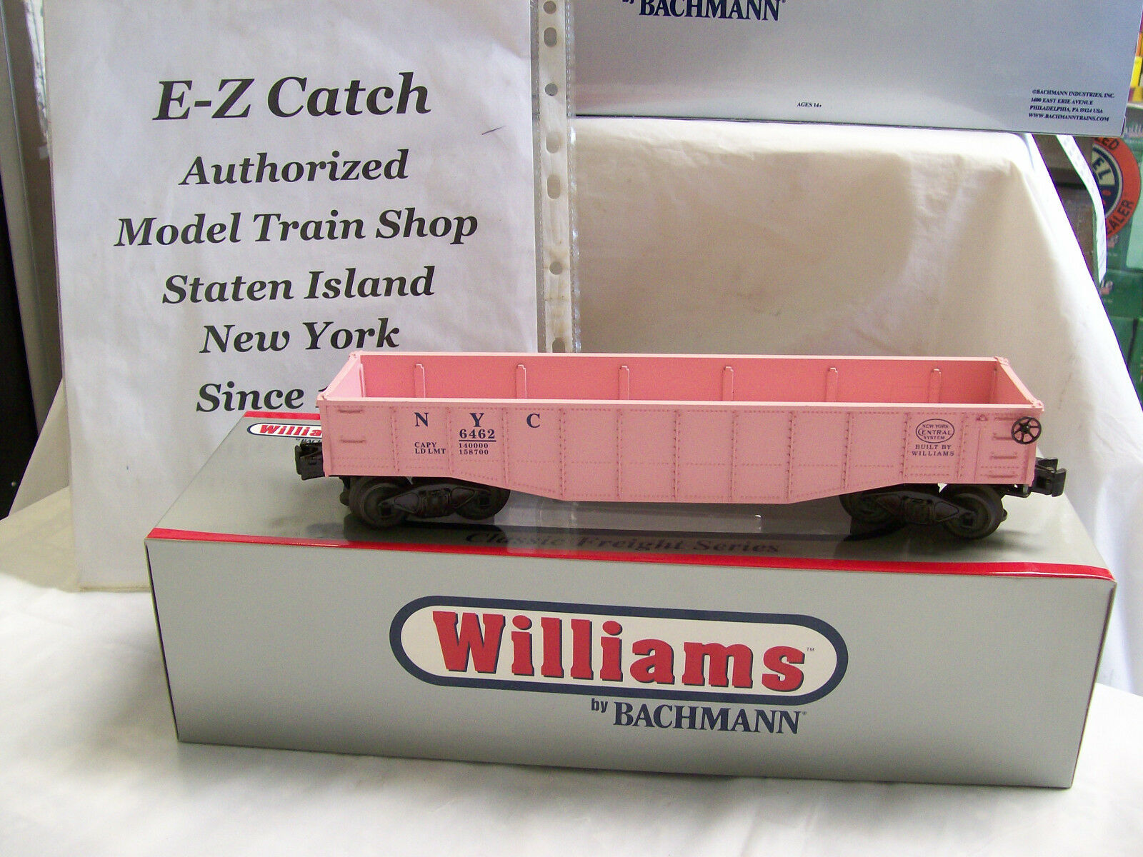 Brand New Williams Pink New York Central Gondola w  Barrel Load O Guage