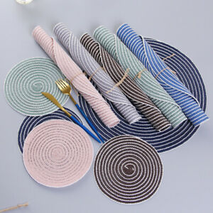 Set of 6 Cotton Braided Ramie Round Placemats Heat-Resistant Anti-Skid Table Mat