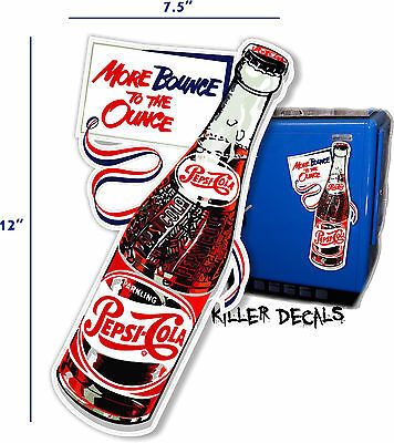 "12"" PEPSI  BOTTLE ""MORE BOUNCE"" (PE209) COOLER POP soda coca cola machine decal"