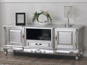 Porta Tv Stile Barocco.Dettagli Su Porta Tv Carlos Stile Barocco Moderno Foglia Argento