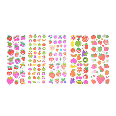 5 Sheets Cute Cartoon Fruits Scrapbooking Bubble Puffy Stickers Reward Kids-O/_mc