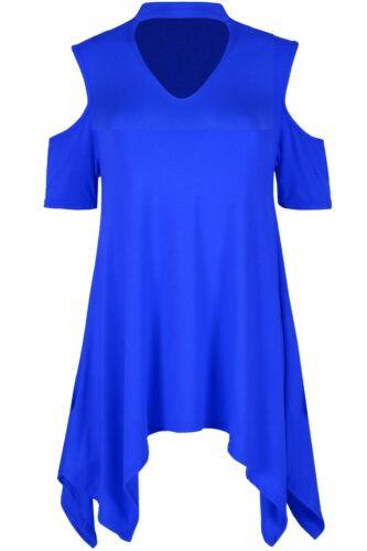 Women Cold Cut Shoulder Choker Neck Keyhole Cut Short Sleeve Hanky Hem Dress Top