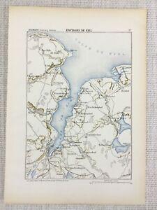 1881 Antik Militär Map Of Kiel Deutschland Schleswig-Holstein Christianpris