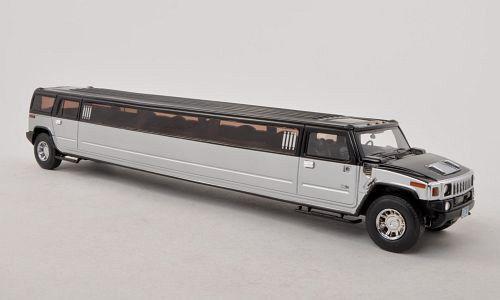 alta calidad y envío rápido Maravilloso modelCoche Hummer H2 stretch-limousine - 1 43-Plateado negro-Ltd. 300 300 300  ventas de salida