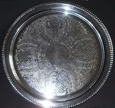 "Vintage Silverplate Platter Tray Large 19"" diameter"